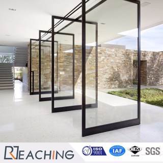 High End Design Aluminum Door Revolved Open Tempered Glass